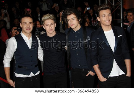 LOS ANGELES - DEC 20 - One Direction arrives at the X Factor 2012 Season Finale Day 2 on December 20, 2012 in Los Angeles, CA              - stock photo