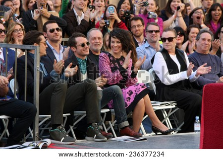 LOS ANGELES - DEC 8:  Orlando Bloom, Elijah Wood, Evangeline Lilly at the Peter Jackson Hollywood Walk of Fame Ceremony at the Dolby Theater on December 8, 2014 in Los Angeles, CA - stock photo
