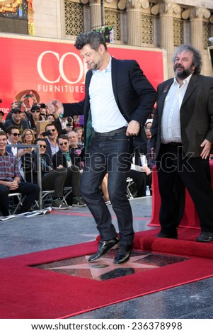 LOS ANGELES - DEC 8:  Peter Jackson, Andy Serkis at the Peter Jackson Hollywood Walk of Fame Ceremony at the Dolby Theater on December 8, 2014 in Los Angeles, CA - stock photo