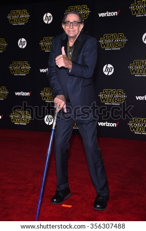 "LOS ANGELES - DEC 14:  Peter Mayhew arrives to the ""Star Wars: The Force Awakens"" World Premiere  on December 14, 2015 in Hollywood, CA.                 - stock photo"