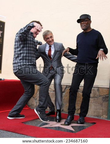 LOS ANGELES - DEC 1: Quentin Tarantino, Christoph Waltz, Samuel L. Jackson at the Christoph Waltz Hollywood Walk of Fame Star Ceremony at the Hollywood Boulevard on December 1, 2014 in Los Angeles, CA - stock photo