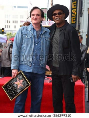 LOS ANGELES - DEC 21:  Quentin Tarantino & Samuel L. Jackson arrives to the Walk of Fame honors Quentin Tarantino  on December 21, 2015 in Hollywood, CA.                 - stock photo