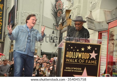 LOS ANGELES - DEC 21:  Quentin Tarantino, Samuel L. Jackson at the Quentin Tarantino Hollywood Walk of Fame Star Ceremony at the Hollywood Blvd on December 21, 2015 in Los Angeles, CA - stock photo