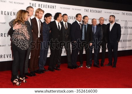 LOS ANGELES - DEC 16:  Revenant Cast, Producers at the The Revenant Los Angeles Premiere at the TCL Chinese Theater on December 16, 2015 in Los Angeles, CA - stock photo
