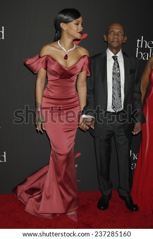 LOS ANGELES - DEC 11:  Rihanna, Lionel Braithwaite  at the Rihanna's First Annual Diamond Ball at the The Vineyard on December 11, 2014 in Beverly Hills, CA - stock photo