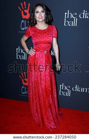 LOS ANGELES - DEC 11:  Salma Hayek at the Rihanna's First Annual Diamond Ball at the The Vineyard on December 11, 2014 in Beverly Hills, CA - stock photo
