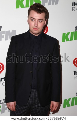 LOS ANGELES - DEC 5:  Sam Smith at the KIIS FM's Jingle Ball 2014 at the Staples Center on December 5, 2014 in Los Angeles, CA - stock photo