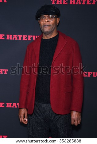 "LOS ANGELES - DEC 07:  Samuel L. Jackson arrives to the ""The Hateful Eight"" Los Angeles Premiere  on December 07, 2015 in Hollywood, CA.                 - stock photo"