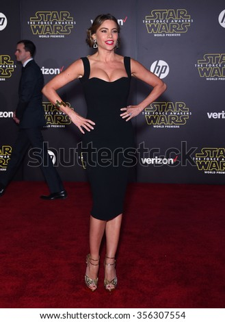 """LOS ANGELES - DEC 14:  Sofia Vergara arrives to the """"Star Wars: The Force Awakens"""" World Premiere  on December 14, 2015 in Hollywood, CA.                 - stock photo"""