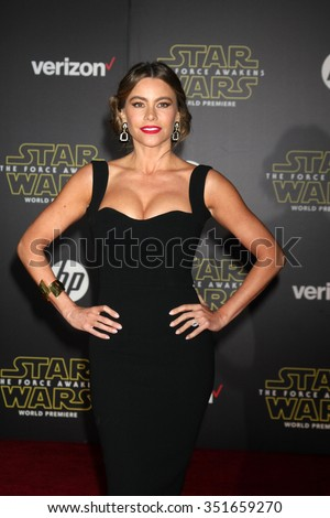 LOS ANGELES - DEC 14:  Sofia Vergara at the Star Wars: The Force Awakens World Premiere at the Hollywood & Highland on December 14, 2015 in Los Angeles, CA - stock photo