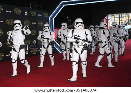 LOS ANGELES - DEC 14:  Storm Troopers at the Star Wars: The Force Awakens World Premiere at the Hollywood & Highland on December 14, 2015 in Los Angeles, CA - stock photo