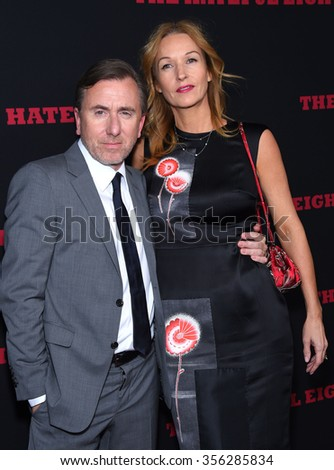 "LOS ANGELES - DEC 07:  Tim Roth & Nikki Butler arrives to the ""The Hateful Eight"" Los Angeles Premiere  on December 07, 2015 in Hollywood, CA.                 - stock photo"