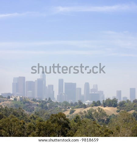 Los Angeles Downtown Air Pollution Skyline Vertical Panoramic