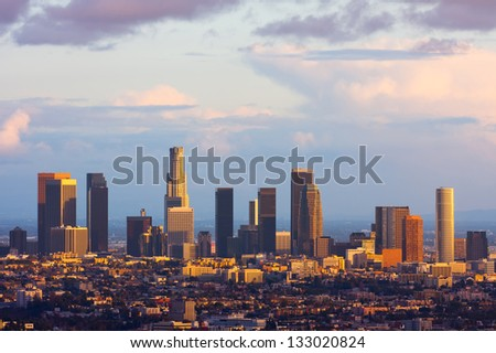 Los Angeles downtown at sunset - stock photo