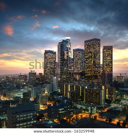 Los Angeles downtown at sunset, California - stock photo