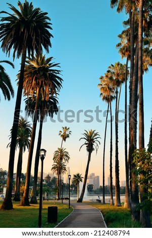 Los Angeles downtown park view with palm trees. - stock photo