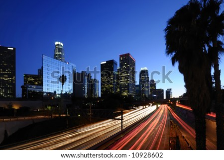 Los Angeles downtown skyline at night