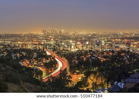 Los Angeles downtown view from top, aerial view at night