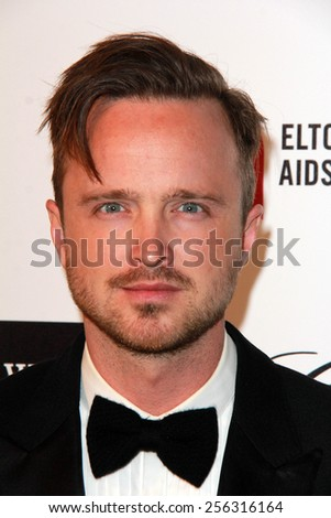 LOS ANGELES - FEB 22:  Aaron Paul at the Elton John Oscar Party 2015 at the City Of West Hollywood Park on February 22, 2015 in West Hollywood, CA - stock photo