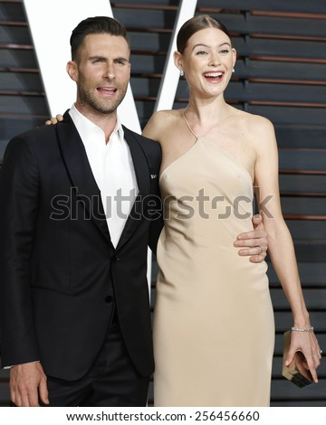 LOS ANGELES - FEB 22:  Adam Levine, Behati Prinsloo at the Vanity Fair Oscar Party 2015 at the Wallis Annenberg Center for the Performing Arts on February 22, 2015 in Beverly Hills, CA - stock photo