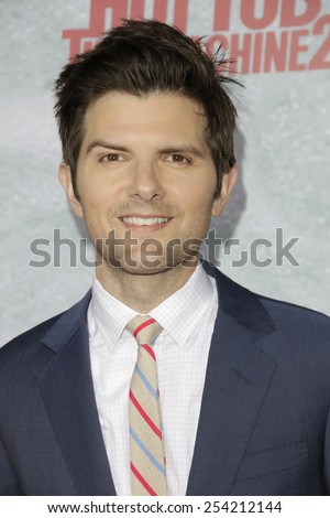 LOS ANGELES - FEB 18: Adam Scott at the 'Hot Tub Time Machine 2' premiere on February 18, 2014 in Los Angeles, California - stock photo