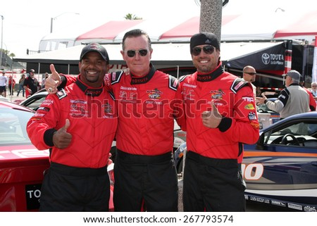 LOS ANGELES - FEB 7:  Alfonso Ribeiro, Robert Patrick, Joshua Morrow at the Toyota Grand Prix of Long Beach Pro/Celebrity Race Press Day at the Grand Prix Compound on FEB 7, 2015 in Long Beach, CA - stock photo