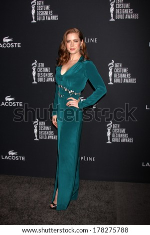 LOS ANGELES - FEB 22:  Amy Adams at the 16th Annual Costume Designer Guild Awards at Beverly Hilton Hotel on February 22, 2014 in Beverly Hills, CA - stock photo