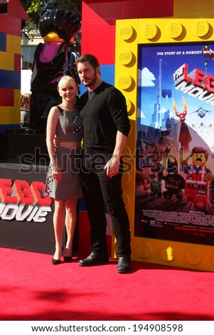 "LOS ANGELES - FEB 1:  Anna Faris, Chris Pratt at the ""Lego Movie"" Premiere at Village Theater on February 1, 2014 in Westwood, CA - stock photo"