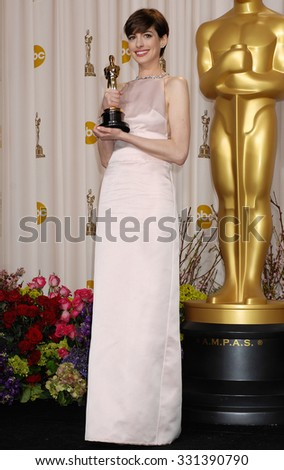 LOS ANGELES - FEB 24 - Anne Hathaway arrives at the 85th Annual Academy Awards Press Room  on February 24, 2013 in Los Angeles, CA              - stock photo