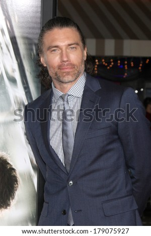 "LOS ANGELES - FEB 24:  Anson Mount at the ""Non-Stop"" Premiere at Village Theater on February 24, 2014 in Westwood, CA"