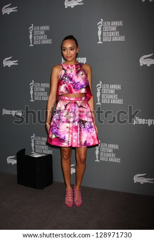 LOS ANGELES - FEB 19:  Ashley Madekwe arrives at the 15th Annual Costume Designers Guild Awards at the Beverly HIlton Hotel on February 19, 2013 in Beverly Hills, CA - stock photo
