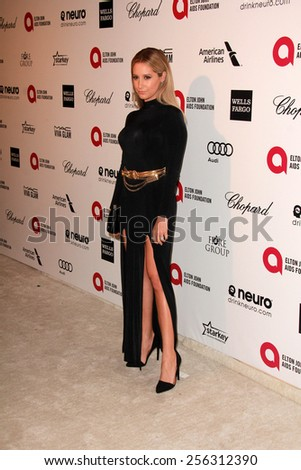 LOS ANGELES - FEB 22:  Ashley Tisdale at the Elton John Oscar Party 2015 at the City Of West Hollywood Park on February 22, 2015 in West Hollywood, CA - stock photo