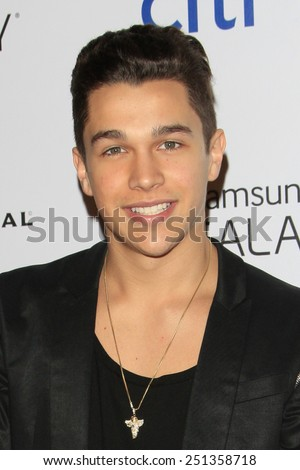 LOS ANGELES - FEB 8:  Austin Mahone at the Universal Music Group 2015 Grammy After Party at a The Theater at Ace Hotel on February 8, 2015 in Los Angeles, CA - stock photo