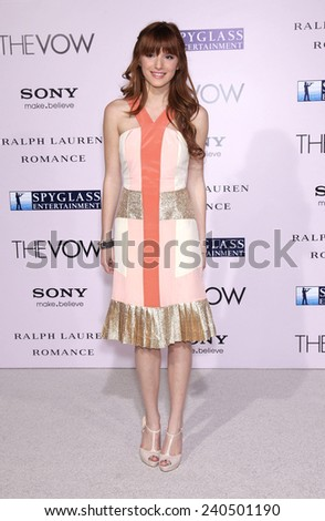 LOS ANGELES - FEB 06:  BELLA THORNE arrives to the 'The Vow' World Premiere  on February 06, 2012 in Hollywood, CA                 - stock photo
