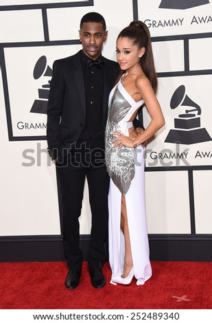 LOS ANGELES - FEB 08:  Big Sean & Ariana Grande arrives to the Grammy Awards 2015  on February 8, 2015 in Los Angeles, CA                 - stock photo