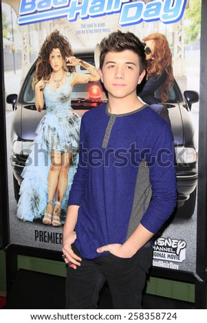 LOS ANGELES - FEB 10: Bradley Steven Perry at the screening of the Disney Channel Original Movie 'Bad Hair Day' at the Frank G Wells Theater on February 10, 2015 in Burbank, CA - stock photo
