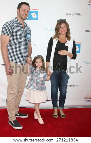 LOS ANGELES - FEB 19:  Brady Smith, Harper Smith, Tiffani Thiessen at the Milk+Bookies Sixth Annual Story Time Celebration at the Toyota Grand Prix Racecourse on April 19, 2015 in Long Beach, CA - stock photo