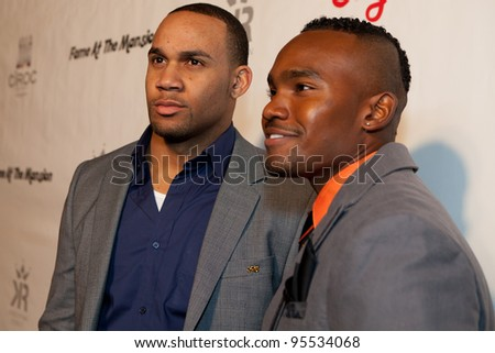 "LOS ANGELES - FEB. 12: Bret Lockett & Dejuan Turrentine attend the ""Fame At The Mansion"" 2012 Grammy Aterparty hosted by Sean ""Diddy"" Combs held at the Playboy Mansion. Los Angeles, Feb 12, 2012 - stock photo"