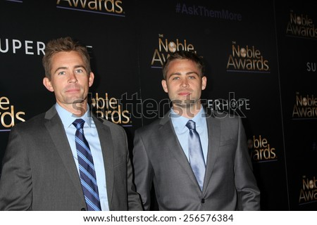 LOS ANGELES - FEB 27:  Caleb Walker, Cody Walker at the Noble Awards at the Beverly Hilton Hotel on February 27, 2015 in Beverly Hills, CA - stock photo