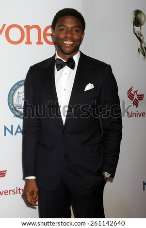 LOS ANGELES - FEB 6:  Chadwick Boseman at the 46th NAACP Image Awards Arrivals at a Pasadena Convention Center on February 6, 2015 in Pasadena, CA - stock photo