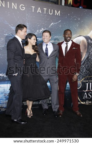 LOS ANGELES - FEB 2: Channing Tatum, Mila Kunis, Sean Bean, David Ayala at the 'Jupiter Ascending' Los Angeles Premiere at TCL Chinese Theater on February 2, 2015 in Hollywood, Los Angeles, California - stock photo