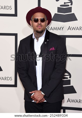 LOS ANGELES - FEB 08:  Chris Brown arrives to the Grammy Awards 2015  on February 8, 2015 in Los Angeles, CA
