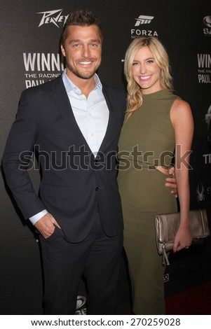 """LOS ANGELES - FEB 16:  Chris Soules, Whitney Bischoff at the """"WINNING: The Racing Life of Paul Newman"""" Pre-Premiere Reception at the Roosevelt Hotel on April 16, 2015 in Los Angeles, CA - stock photo"""