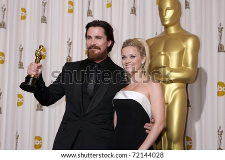 LOS ANGELES -  FEB 27: Christian Bale, Reese Witherspoon arrives in the Press Room at the 83rd Academy Awards at Kodak Theater, Hollywood & Highland on February 27, 2011 in Los Angeles, CA - stock photo