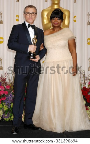 LOS ANGELES - FEB 24 - Christoph Waltz and Octavia Spencer arrives at the 85th Annual Academy Awards Press Room  on February 24, 2013 in Los Angeles, CA