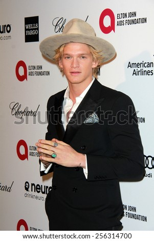 LOS ANGELES - FEB 22:  Cody Simpson at the Elton John Oscar Party 2015 at the City Of West Hollywood Park on February 22, 2015 in West Hollywood, CA - stock photo