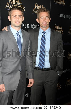 LOS ANGELES - FEB 27:  Cody Walker, Caleb Walker at the Noble Awards at the Beverly Hilton Hotel on February 27, 2015 in Beverly Hills, CA - stock photo