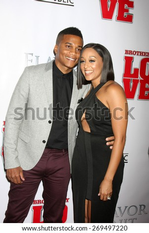 """LOS ANGELES - FEB 13:  Cory Hardrict, Tia Mowry at the """"Brotherly Love"""" LA Premiere at the Silver Screen Theater at the Pacific Design Center on April 13, 2015 in West Hollywood, CA - stock photo"""