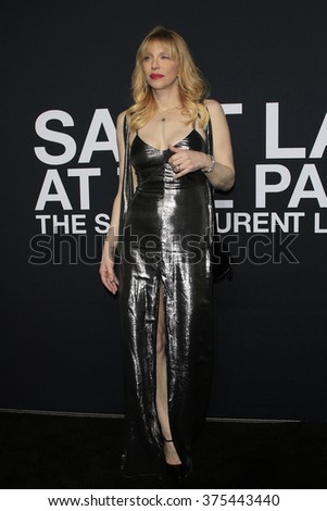 LOS ANGELES - FEB 10: Courtney Love arriving at the Saint Laurent fashion show at the Hollywood Palladium on February 10, 2016 in Los Angeles, California - stock photo