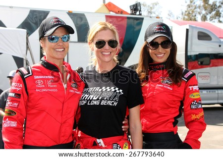 LOS ANGELES - FEB 7:  Dara Torres, Tricia Helfer, Donna Feldman at the Toyota Grand Prix of Long Beach Pro/Celebrity Race Press Day at the Grand Prix Compound on FEB 7, 2015 in Long Beach, CA - stock photo